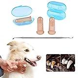 DryMartine Hund Katze Zahnreinigung Zahnpflege Set, PET Finger Zahnbürste (3) + 6.6in Double Header Hund Dental Zahnstein Zahnstein Plaque Entferner Scraper Tool (1Stück)