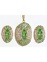 DollsofIndia Green And White Stone Studded Round Shaped Pendant And Earrings - Stone And Metal (AS84-mod) - Green