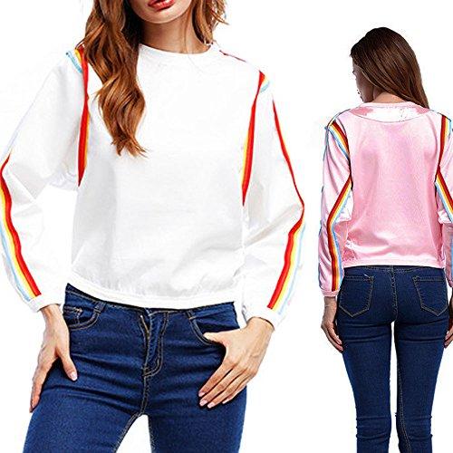 Damen Tops, FEITONG Frauen Tops Lange Ärmel Casual Loose Bluse T-Shirt Pullover Rosa