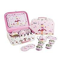 Lucy Locket Fairy Tale Metal Tea Set & Carry Case Toy (14 Piece Pink Tea Set for Children)