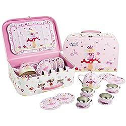 Servizio da tè in metallo 15 pezzi, pic-nic tea set bambina, accessori thè fate cucina - Lucy Locket