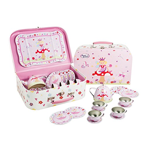 Lucy Locket Fairy Tale Metal Tea Set & Carry Case Toy (14 Piece Pink Tea Set for Children)