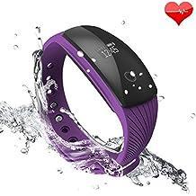 Riversong Pulsera de Fitness, resistente al agua, reloj, pulsómetro, monitor de actividad, con OLED, podómetro, seguimiento de calorías-Purpura