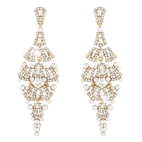 Ever Faith Lampadario crema color avorio simulato gli orecchini della perla cristallo austriaco Gold-Tone N03869-2