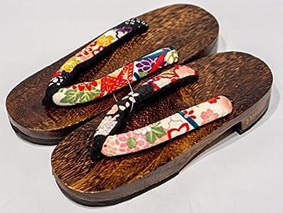 [Japón Hecho] Geta Paulownia sandalias de madera tradicional de calzado sakura-black Talla M