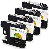 Gohepi Ersatz für Brother LC123 Schwarz LC123BK Druckerpatronen Kompatibel für Brother MFC-J6920DW, MFC-J6520DW, DCP-J132W, DCP-J4110DW, MFC-J4510DW, MFC-J6720DW, MFC-J470DW, MFC-J4610DW, DCP-J152W, Packung mit 4