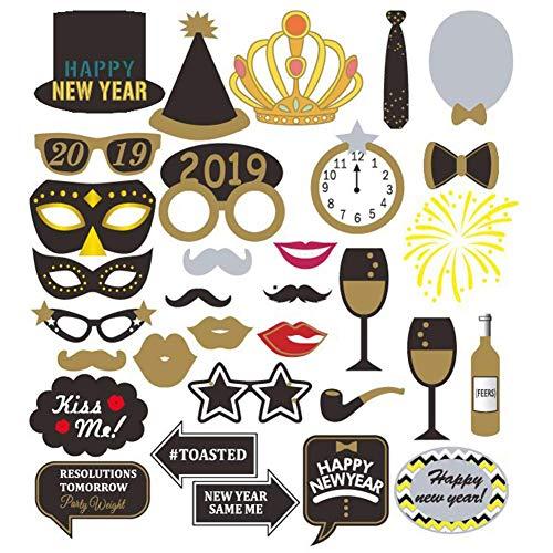 o Booth 2019 Silvester Party Foto Requisiten kit DIY photobooth Prop enthalten Masken Schnurrbart Hut Silvester Party Dekoration liefert langlebig und praktisch ()