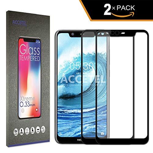 Pellicola Copertura Completa Compatibile per Nokia 5.1 Plus Nokia X5 Proteggi Schermo Vetro temperato Protettiva Protezione Piena Copertura Totale 5.8'' Pollici Nero 2-Pack