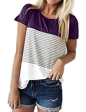 ❤️ Camiseta Casual Para Mujer,Camiseta de Mujer de Manga Corta con Tres Rayas EN Color Block Blusa Casual Ropa...