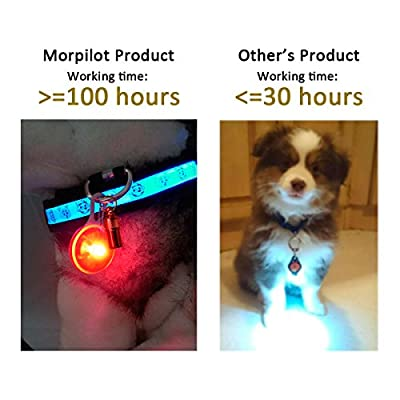 Clip-On Pet, Dog Collar LED Light - Dog Lights for Collars, Waterproof Safety Lights of Dogs and Cats for Night Walking, Included 6 Extra Replacement Batteries (6 Pack), Gifts for Pets by morpilot