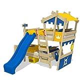 WICKEY Etagenbett CrAzY Castle Doppel-Kinderbett 90x200 Hochbett mit Rutsche, Treppe, Dach und Lattenboden, blau-gelb + blaue Rutsche