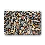 ferfgrg Door Mats Pebble Stone Machine Washable Fabric Non-Slip Rubber Backing Indoor...