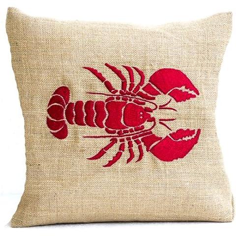 Amore Beaute-Cuscino ricamato a mano, colore: rosso aragosta, in legno