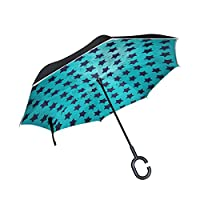COOSUN Blue Textures Vintage Star Pattern Double Layer Inverted Umbrella Reverse Umbrella for Car and Outdoor Use Rain Windproof Waterproof UV Protection Big Straight Umbrella With C-Shaped Handle