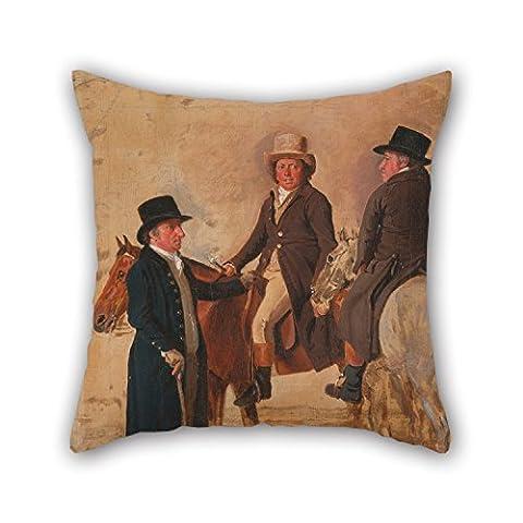 Artistdecor la peinture à l'huile Benjamin Marshall–John Hilton, juge du Parcours à Newmarket; John Fuller, Clerc du Parcours; et John Stevens, une... d'oreiller du, 50,8x 50,8cm/50par