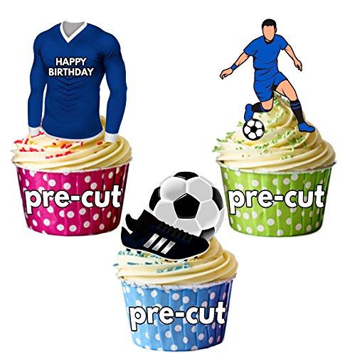 AK Giftshop vorgeschnittenen Happy Birthday Fußball Party Pack-Essbare Cupcake Topper/Kuchen Dekorationen Birmingham City Farben (12Stück)