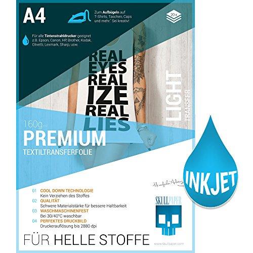 SKULLPAPER Premium A4 T-Shirt Textil-Transferfolie Bügelfolie für HELLE Stoffe / Textilien zum Bedrucken - inkl. 200+ GRATIS Motiv-Vorlagen - Transferpapier / Textilfolie für Tintenstrahldrucker Plotter (20 Blatt)