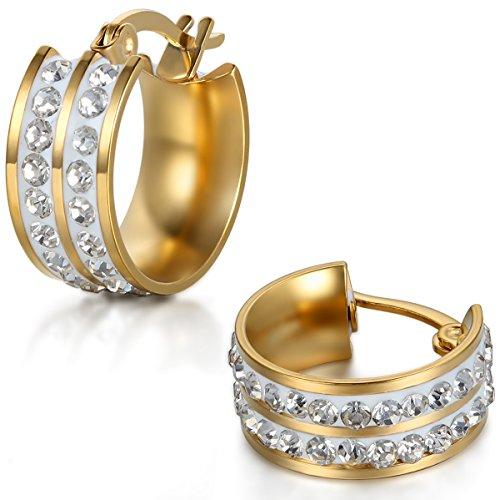 JewelryWe Schmuck Herren Damen Ohrringe, Edelstahl Doppel Linien Strass Breit Poliert Creolen Ohrstecker, Gold