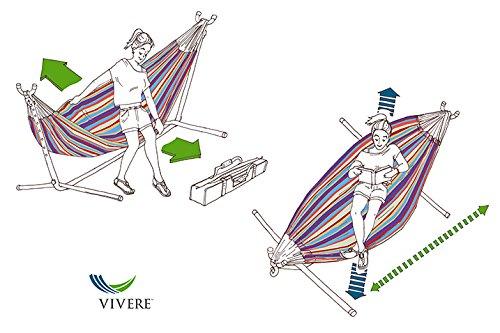 Vivere Doppel Baumwolle Hängematte mit Hängemattengestell Oase - 5