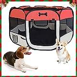 Tragbarer Welpenlaufstall für Hunde, Katzen, Hasen & Kleintiere Welpen-Laufstall Laufgitter ,125 x 125 x 64 cm,Rot