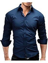 MERISH Chemise Slim Fit Hommes manches longues chic et décontracté Beaucoup de différentes couleurs de haute qualité Modell 01