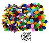 Edukit 600 Pompons zum Basteln bunt mm-Auswahl 100 Wackelaugen groß klein Augen zum Aufkleben Bastelset Kinder Bommel Pompons Set Klebeaugen