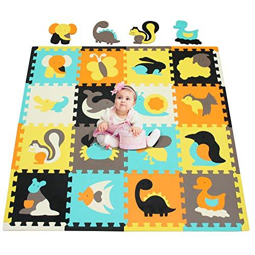MU SHEN Krabbelmatte Puzzlematte Spielmatten für Babys, Schaumstoff, Spielmatte, Fliesen, Puzzle, ineinandergreifender Boden für Kinder und Kleinkinder, Fitness-Übungen und Krabbeln, Eva Saft-Matte