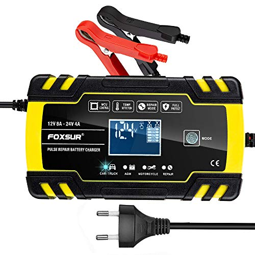 Batterie Ladegerät Auto, yotame 4A/24V, 8A/12V Ladegerät Autobatterie Vollautomatisches Erhaltungsladegerät mit Mehrfachschutz LCD-Touchscreen für Auto, Motorrad, Rasenmäher oder Boot