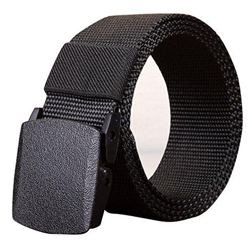 CICIYONER Männer Einfache Sport Nylon Bund Leinwand Web Gürtel Outdoor (140CM, Schwarz) (Buckle Tote Vintage)