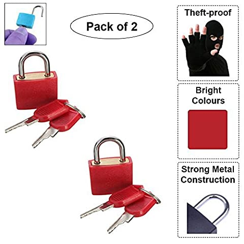 2 Mini Padlocks with Keys To Secure Belongings Travel Crucial ((2 Pcs), Red) by Schone Products (UK)