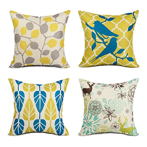 Topfinel Kissenbezüge aus Baumwolle Leinen Zierkissenbezüge Blätter Muster für Wohnzimmer Schlafzimmer 45x45cm 4er Set - Baumwolle Blatt