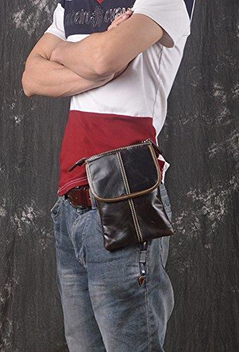 Sk Studio Mens Cuoio Genuino Vintage Marsupio Marsupio Hip Borse Tracolle Crossbody Bag Unisex Tracolla Caffè Scuro Caffè Scuro