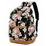 Feskin Sacs à dos scolaires Filles, Sacs à dos Femmes/Sacs à dos en toile avec fleurs pour Randonnée/École (Fleur)