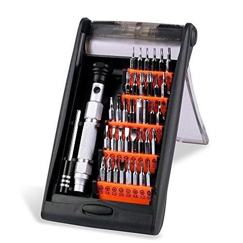 Preisvergleich Produktbild Schraubendreher Set, Magnetische Präzise Aluminium-Legierung Schraubendreher-Kit mit 36 Bits für elektronische Wartung 38-in-1