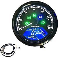 KKmoon - Cuentakilómetros para motocicleta, pantalla LCD digital, 0-12000 rpm, tacómetro