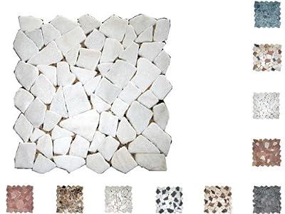 1Q Marmor Mosaik Bruch getrommelt Bianco von Mosaikdiscount24 auf TapetenShop