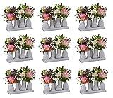 Keramikvasenset Blumenvase Keramikvasen Bunt/weiß Vase Blumen Pflanzen Keramik Set Deko Dekoration (9 Sets je 7 Vasen, weiß)
