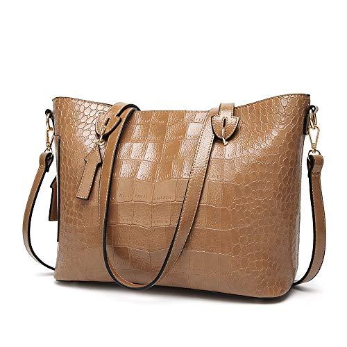 sche für Frauen, große Umhängetasche mit Pendlergriff für Oben Reißverschluss für Frauen Umhängetasche für Frauen Casual-Handtasche für Frauen Schulter-Handtasche (Color : Khaki) ()