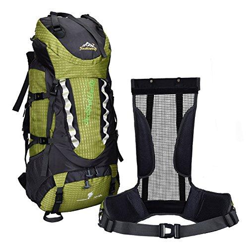 OSOPOLA groß 80L Wander Zelten Outdoor Sport Rucksack Wasserbeständigkeit Tagesrucksack Reisen Racksuck für Männer Frauen mit Extern Rahmen Blau
