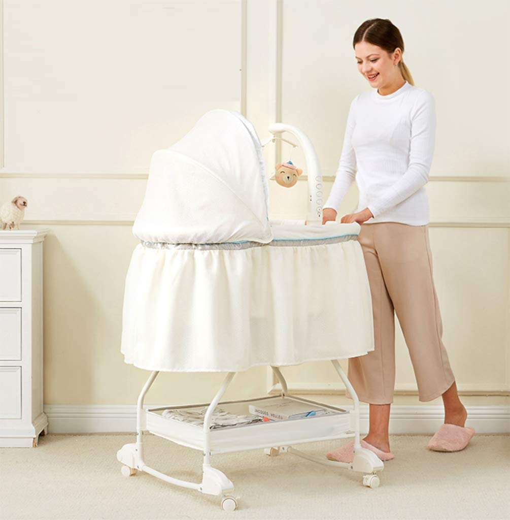 Portable cot - Splicing Large Bed, Newborn Side Bed, European Princess Bed, Multi-Functional Baby Cradle Bed, Bedside cot, fold in one Step, AYUANCHUN From soothing swings, music and sounds to calming vibrations, there is everything you can do to help your baby leave the dream comfortably. Sensory: A variety of soft textures, calm vibrations and swaying movements stimulate the baby's senses. Safety and well-being: Soft cushions, calm vibrations and gentle shaking help to soothe your baby, become a part of the nap and routine before going to bed, giving your baby a sense of security. 2