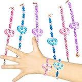 German Trendseller - 6 x Bracelets étincelants pour Enfants ┃Bijoux Coeur┃ mélange de Couleurs┃ l'anniversaire d'enfants┃ idée Cadeau...