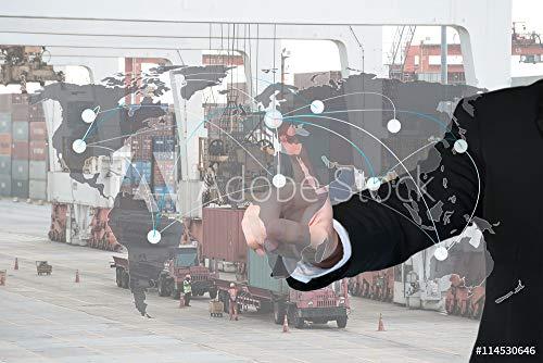 druck-shop24 Wunschmotiv: Businessman Working with Virtual Interface map global Partner #114530646 - Bild hinter Acrylglas - 3:2-60 x 40 cm / 40 x 60 cm -