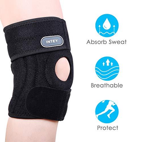 INTEY Kniebandage - Knieschützer mit Klettverschluss und Patellaöffnung, Knieschoner Anti Slip Atmungsaktiver Schmerzlinderung beim Sport und Freizeit, schnellere Genesung