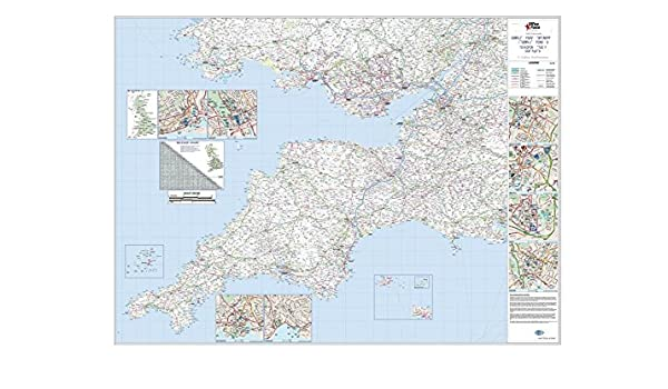 Officeforce Large Laminated Wall Road Map Of South West England