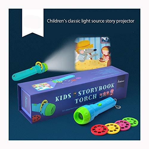 Spielzeug für Mädchen Mini-Theater für Kinder Kids Sleep Story projiziert Fackel 4 Geschichten 32 Folien Kinderprojektorspielzeug