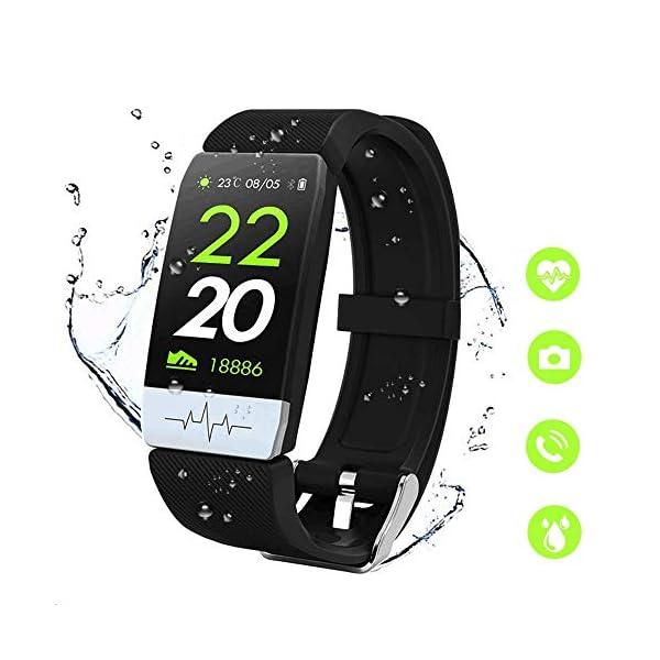 obqo Reloj Inteligente Pulsera Actividad Fitness Tracker con Pulsómetro,Monitor de Sueño de Presión Arterial,Podómetro,Contadores de Calorías IP67 Pulsera Deporte para Mujeres Hombres Android iOS 1