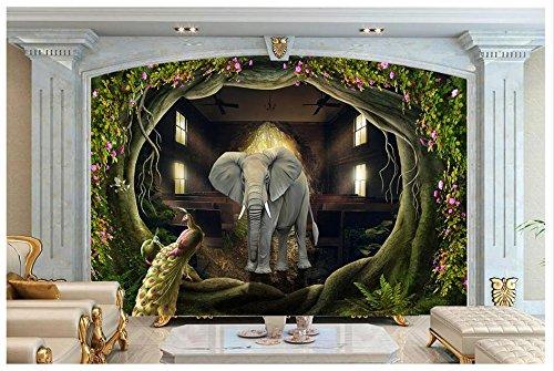 te 3D Wallpaper Murals Tier Fresken Wunderland Hand gemalte Wald Kulisse dekorative Malerei Wandbild Wand Home Decor 120 X 100 Cm (Wunderland-kulisse)