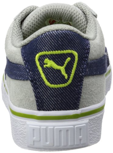 Puma Puma S Denim Jr, Low-top mixte enfant Gris - Grau (limestone gray-denim-lime green 01)