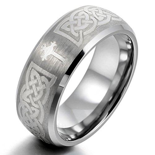 MunkiMix Wolframcarbid Wolfram Ring Band Silber Ton Irish Celtic Knot Irischen Keltisch Knoten Kruzifix Kreuz Triquetra Gebürstet Größe 62 (19.7) Herren