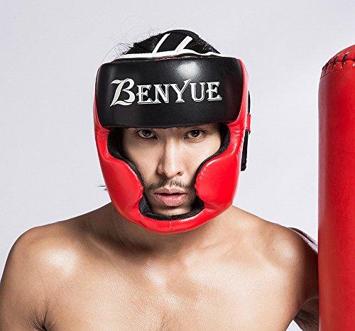 Preisvergleich Produktbild JIE Boxing Sanda Helm Erwachsenes Kind Verdicken Sanda Muay Thai Taekwondo Kampftraining, Rötlich Schwarz, L